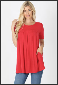 Women's Round Neck Pleated Tunic Top w/ Pockets Red Short Sleeve Spring Tunic Tops - Arrow Trend Leggings