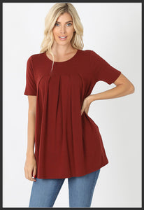 Women's Round Neck Pleated Tunic Top w/ Pockets Fired Brick Short Sleeve Spring Tunic Tops Red  - Arrow Trend Leggings
