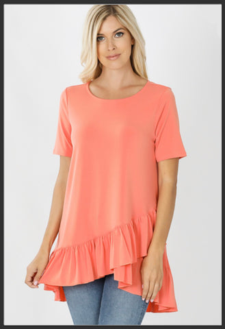 Women's Overlap Ruffle Tunic Top Coral Solid Tunic Tops - Arrow Trend Leggings
