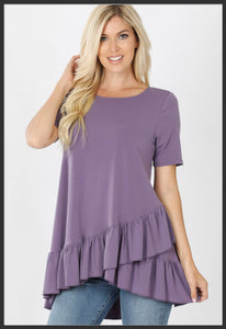 Women's Overlap Ruffle Tunic Top Lilac Solid Purple Tunic Tops - Arrow Trend Leggings