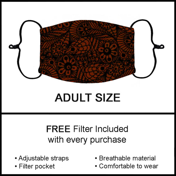 Rusty Brick Red Paisley Print Fashion Face Mask Custom Adult Face Masks  - Arrow Trend Leggings