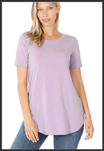 Women's Short Sleeve Lavender Top Round Neck Solid Lavender Top - Arrow Trend Leggings