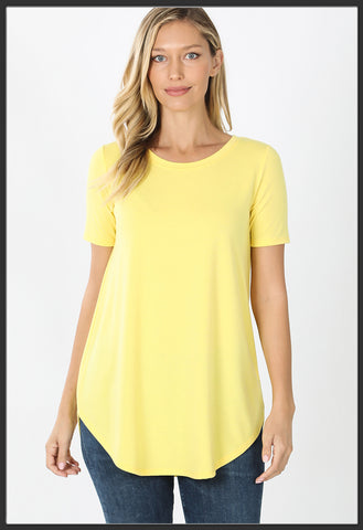 Women's Short Sleeve Yellow Top Round Neck Solid Yellow Top - Arrow Trend Leggings