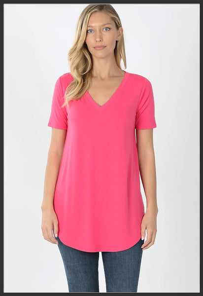 Women's Short Sleeve Solid Fuchsia Top V-Neck Solid Pink Top - Arrow Trend Leggings