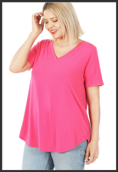 Women's Short Sleeve Solid Fuchsia Top V-Neck Solid Pink Top Plus Size - Arrow Trend Leggings