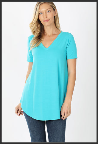 Women's Short Sleeve Solid Bright Blue Top V-Neck Solid Blue Top - Arrow Trend Leggings