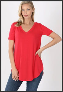 Women's Short Sleeve Solid Red Top V-Neck Solid Ruby Red Top - Arrow Trend Leggings