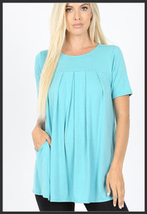 Women's Round Neck Pleated Tunic Top w/ Pockets Ash Mint Short Sleeve Tunic Tops - Arrow Trend Leggings