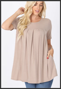 Women's Round Neck Pleated Tunic Top w/ Pockets Mocha Short Sleeve Tunic Tops - Arrow Trend Leggings