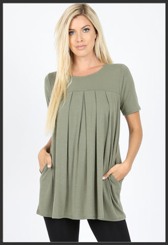 Women's Round Neck Pleated Tunic Top w/ Pockets Light Olive Short Sleeve Tunic Tops - Arrow Trend Leggings