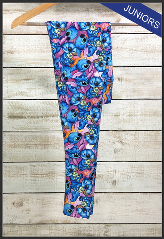 Junior's Disney Stitch Custom Leggings Lilo & Stitch Leggings Stitch Collage Leggings - Arrow Trend Leggings