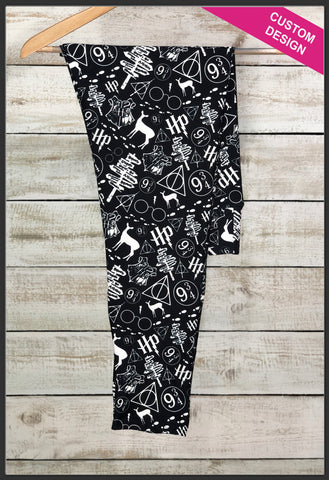 Harry Potter Leggings Custom Print Novelty Leggings Black and White Harry Potter - Arrow Trend Leggings