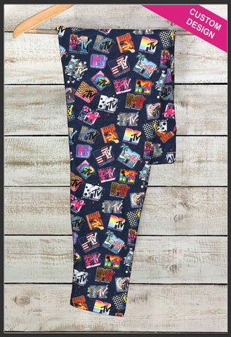 Custom Print MTV Logo Leggings Retro MTV Logo Leggings - Arrow Trend Leggings