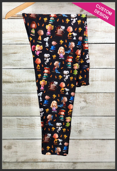 Peanuts Leggings Custom Print Novelty Leggings Custom Charlie Brown Leggings Snoopy - Arrow Trend Leggings