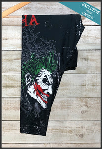 DC Joker Capri Leggings Comic Book Batman Villain Leggings Close up Stock Arrow Trend Leggings