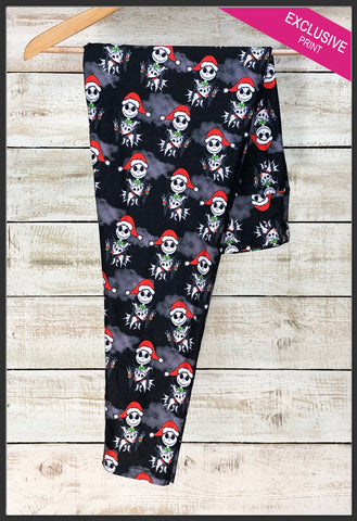 Santa Jack Leggings Nightmare Before Christmas Leggings Christmas Jack Skellington Leggings NBC Christmas Leggings - Arrow Trend Leggings