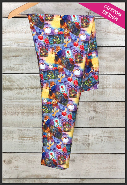Beauty and the Beast Leggings Custom Print Disney Princess Leggings Belle Beauty and the Beast Collage Print Leggings Stained Glass - Arrow Trend Leggings