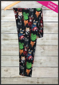 Cat Avengers Leggings Custom Novelty Leggings Kitty Cat Super Hero Leggings - Arrow Trend Leggings