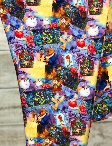 Beauty and the Beast Leggings Custom Print Disney Princess Leggings Belle Beauty and the Beast Collage Print Leggings Stained Glass Close Up - Arrow Trend Leggings