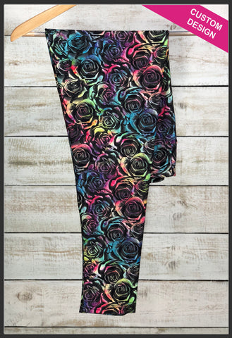 Custom Print Rainbow Roses Leggings Colorful Rose Leggings - Arrow Trend Leggings