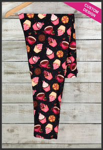 Coffee and Cupcake Leggings Custom Novelty Leggings Cherry Delight Leggings - Arrow Trend Leggings