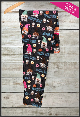 Coffee & Donut Gnomes Leggings Custom Print Novelty Leggings - Arrow trend leggings