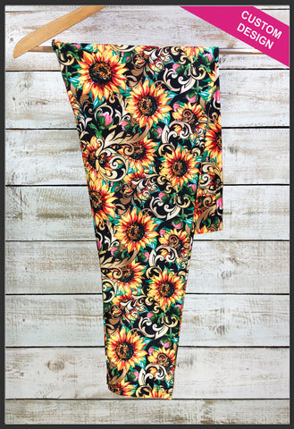 Sunflower Leggings Custom Print Elegant Sunflower Leggings - Arrow Trend Leggings