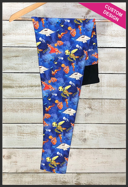 Finding Nemo Leggings Custom Print Nemo Leggings Squirt - Arrow Trend Leggings