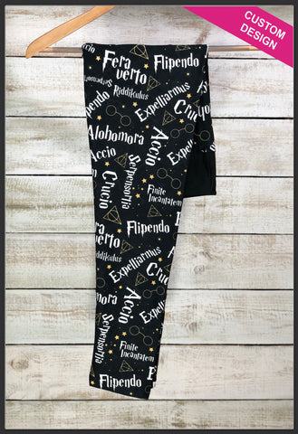 Custom Harry Potter Leggings Harry Potter Spells Leggings - Arrow Trend Leggings