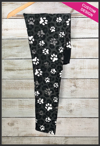 Custom Paw Print Leggings Custom Novelty Leggings Leopard Paw Print Leggings - Arrow Trend Leggings