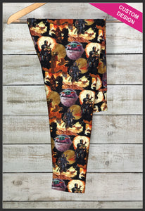 Mandalorian Leggings Custom Print Novelty Leggings Baby Yoda Leggings The Child Grogu - Arrow Trend Leggings