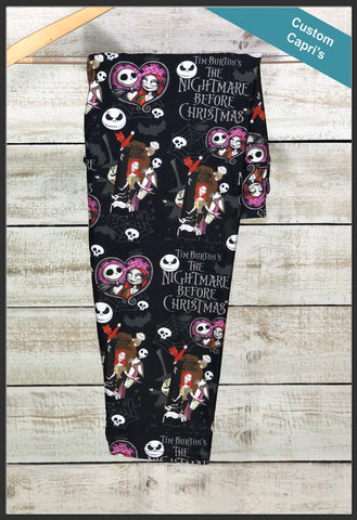 Nightmare Before Christmas Leggings Custom Print NBC Capri Leggings - Arrow Trend leggings