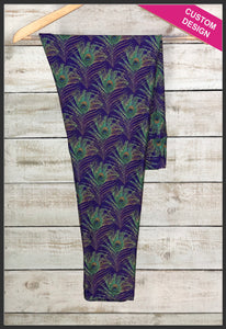 Peacock Feather Leggings Custom Novelty Leggings - Arrow Trend Leggings