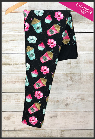 Starbucks Coffee Floral Leggings Pretty Coffee Custom Print Leggings - Arrow Trend Leggings