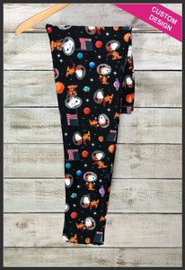 Snoopy in Space Leggings Custom Print Novelty Leggings - Arrow Trend Leggings