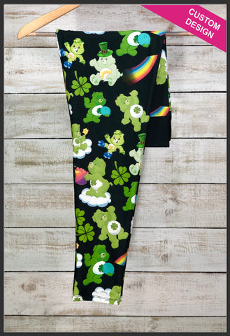 St. Patrick's Day Care Bear Leggings Custom Print St. Patrick's Day Leggings - Arrow Trend Leggings
