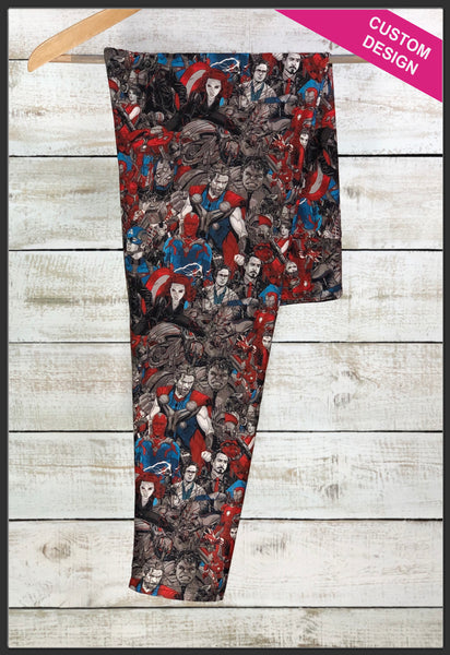 Custom Marvel Hero Collage Leggings Custom Novelty Leggings - Arrow Trend Leggings
