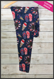Patriotic Forth of July Leggings Leggings Custom Novelty Leggings Summertime Patriotic Leggings - Arrow Trend Leggings