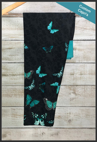 Teal Butterfly Capri Leggings Custom Print Novelty Leggings - Arrow Trend Leggings