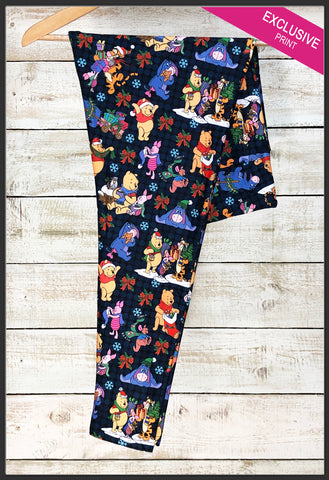 Winnie the Pooh's Christmas Leggings Custom Print Christmas Leggings - Arrow Trend Leggings