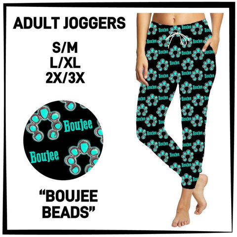 Pre-Order Boujee Beads Jogger Pants Custom Print Novelty Joggers Turquoise - Arrow Trend Leggings