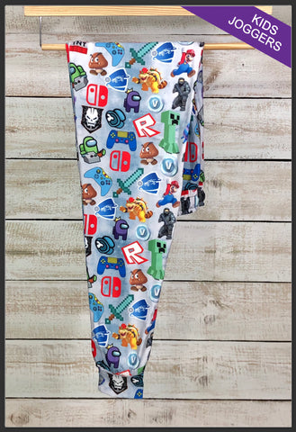 Kids Game Time Friends Joggers Kids Custom Print Jogger Pants - Arrow Trend Leggings
