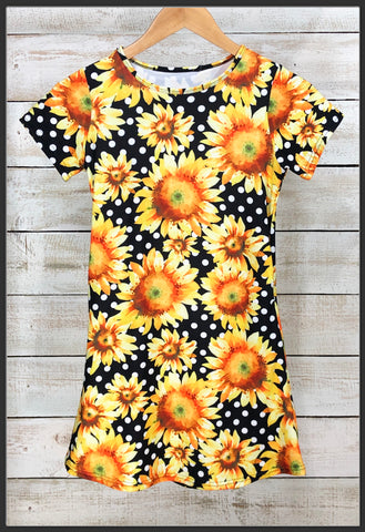 Kids Sunflower Dress w Pockets Short Sleeve Pocket Kids Dresses - Arrow Trend Leggings