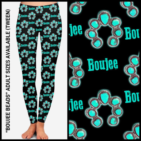 Pre-Order Boujee Beads Leggings Custom Print Novelty Leggings Turquoise - Arrow Trend Leggings