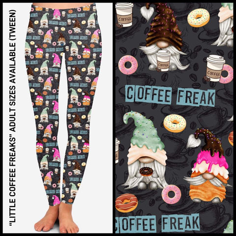 Pre-Order Coffee and Donut Gnomes Leggings Custom Print Novelty Leggings - Arrow Trend Leggings