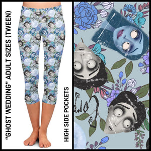 Pre-Order Corpse Bride Capri Leggings Custom Print Novelty Leggings with Pockets - Arrow Trend Leggings