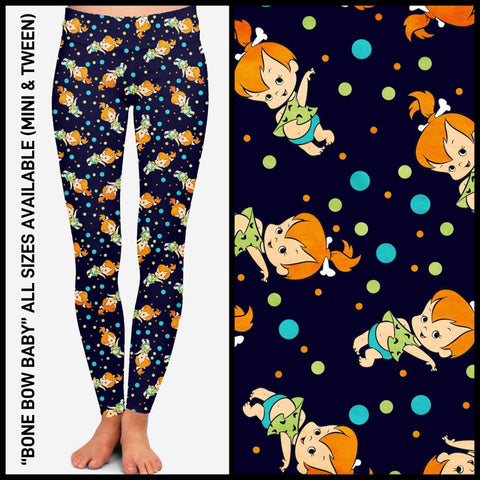 Pre-Order Flintstone Pebbles Leggings Custom Print Novelty Leggings - Arrow Trend Leggings