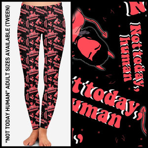 Pre-Order Not Today Human Leggings Custom Print Novelty Leggings - Arrow Trend Leggings