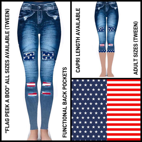 Pre-Order Peek a Boo Leggings Patriotic Flag Leggings Peek a Boo Flag Leggings - Arrow Trend Leggings