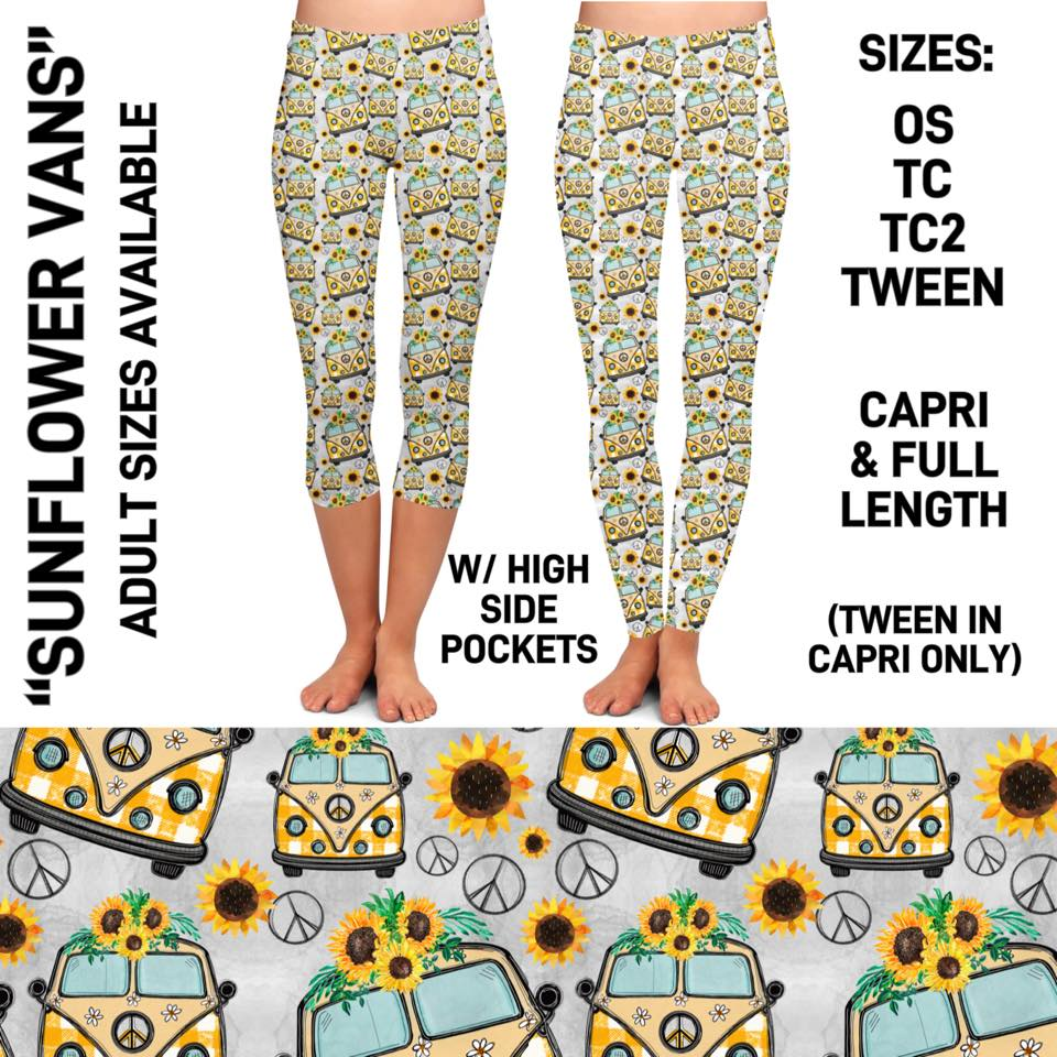 Pre-Order Sunflower Vans Leggings Custom Print Novelty Leggings with Pockets Hippie Vans Peace signs - Arrow Trend Leggings